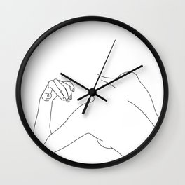 Nude figure line drawing - Bess Wall Clock