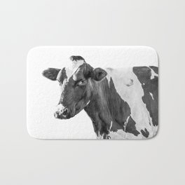 Cow Photography Animal Art | Minimalism black and white | black-and-white | Peek-a-boo Bath Mat
