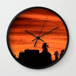 Blood Orange Sunset Over Small Desert Town Wall Clock