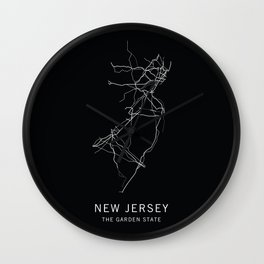 New Jersey State Road Map Wall Clock
