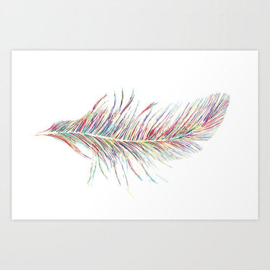 Rainbow Feather  Art Print