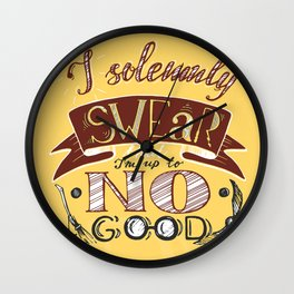 I solemnly swear that I'm up to no good HP phrase in yellow and red color with snitch and broom Wall Clock