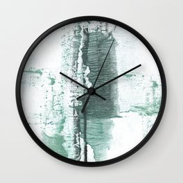 Gray green stained watercolor texture Wall Clock