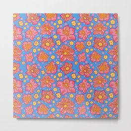 Beautiful Blue, Yellow and Pink Floral Pattern Metal Print