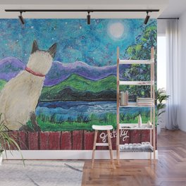 Siamese Cat in the Moonlight Painting Wall Mural