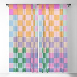 Checkerboard Collage Sheer Curtain