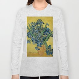 Still Life: Vase with Irises Against a Yellow Background Long Sleeve T-shirt