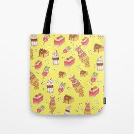 Street Treats on Yellow: Kawaii Food Tote Bag