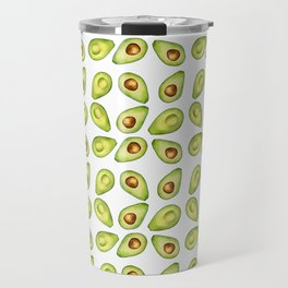 Watercolor Painting Green Avocado Pattern Travel Mug