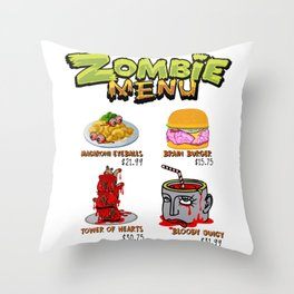 Zombie Menu Funny Halloween Dishes for Zombie Lover Light Throw Pillow