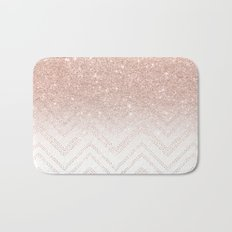 Modern faux rose gold glitter ombre modern chevron stitches pattern Bath Mat