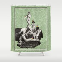 nudes Shower Curtains featuring Of Fiddlebittery & Birds by mentalembellisher