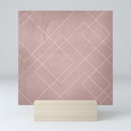 Overlapping Diamond Lines on Shell Pink  Mini Art Print
