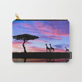 Lonely Tree And Giraffes Silhouette In African Savannah At Sunset Ultra HD Carry-All Pouch