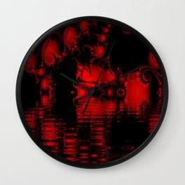 Red and Black Lake Fractal Wall Clock