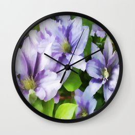 Delicate Climbing Clematis Wall Clock