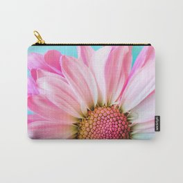 Beautiful Pink Flower Macro, Turquoise Blue Backdrop Carry-All Pouch