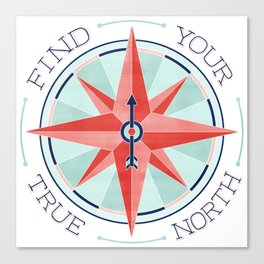 Find Your True North - Red/Mint Canvas Print