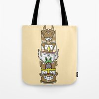 totem Tote Bags featuring totem by ybalasiano