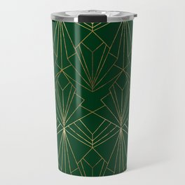 Art Deco in Gold & Green Travel Mug