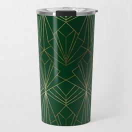 Art Deco in Gold & Green Travel Mug