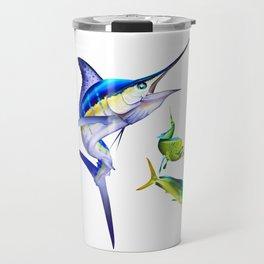 White Marlin Chasing Dolphin Fish Travel Mug