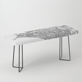 Lima White Map Bench