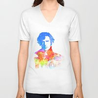 sherlock V-neck T-shirts featuring Sherlock by Fimbis