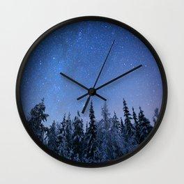 Shimmering Blue Night Sky Stars 2 Wall Clock