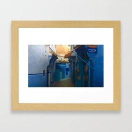 The Blue Streets in Chefchaouen Framed Art Print