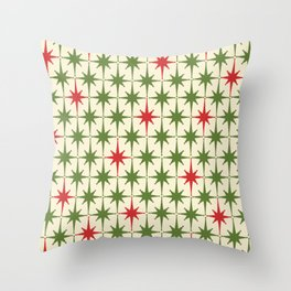 Christmas Starbursts - Atomic Age Xmas Holiday Pattern in Red and Retro Green on Cream Throw Pillow