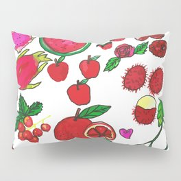 Red Fruits Drawing Pillow Sham