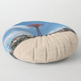Iconic Coney Island Parachute Photograph Floor Pillow