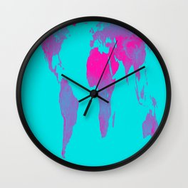 World Map : Gall Peters Turquoise & Pink Wall Clock