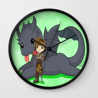 how to train your dragon Wall Clocks featuring How to Train Your Dragon 2 by Mayying
