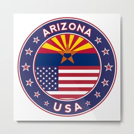 Arizona, Arizona t-shirt, Arizona sticker, circle, Arizona flag, white bg Metal Print