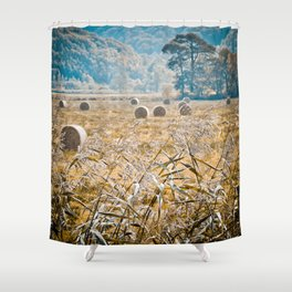 Hay Bales in Snowdonia Shower Curtain