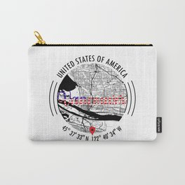 Vancouver, USA Road Map Art - Earth Tones Carry-All Pouch