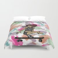 skate Duvet Covers featuring Skate Free by A+A Noisome Art