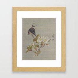 Birdie & Sakura Framed Art Print
