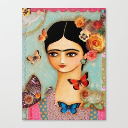Frida Collage with Butterfly and Rose Canvas Print