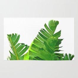 Palm banana leaves tropical watercolor illustration Rug