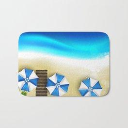 Couple of umbrellas on the beach, graphic art Bath Mat