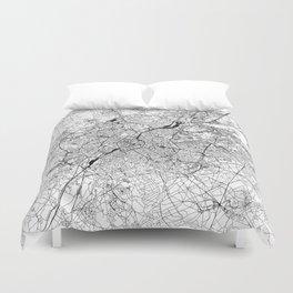Brussels White Map Duvet Cover