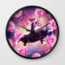 Rave Space Cat On Rhino Unicorn - Donut Wall Clock