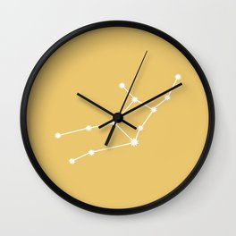 Virgo Zodiac Constellation - Golden Yellow Wall Clock