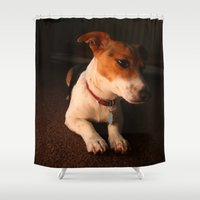 puppy Shower Curtains featuring Puppy by adelecarne