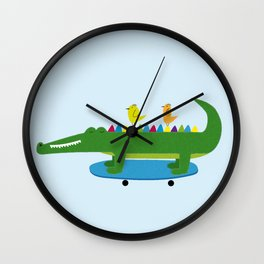 Crocodile and skateboard Wall Clock