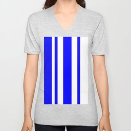 Mixed Vertical Stripes - White and Blue Unisex V-Neck