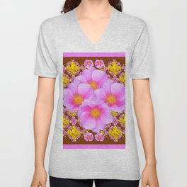 Chocolate Brown Pink Wild Roses Pattern Art Unisex V-Neck